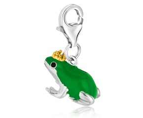 Frog Prince Green Enameled Charm in Sterling Silver