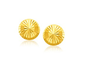 Flat Style Diamond Cut Stud Earrings in 14K Yellow Gold