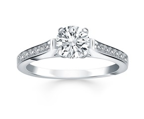 Pave Diamond Cathedral Engagement Ring in 14K White Gold