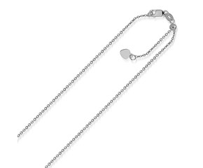 Adjustable Singapore Chain in 14K White Gold (1.1 mm)