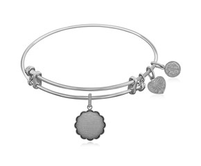 Expandable White Tone Brass Bangle with Plain Engravable Fancy Round Symbol