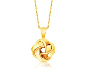 Polished Love Knot Motif Pendant in 14K Yellow Gold