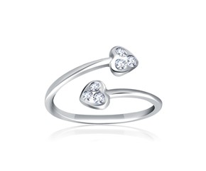 Cubic Zirconia Accented Heart Motif Toe Ring in 14K White Gold