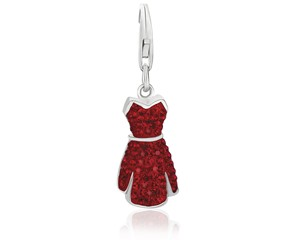 Dress Red Tone Crystal Studded Charm in Sterling Silver