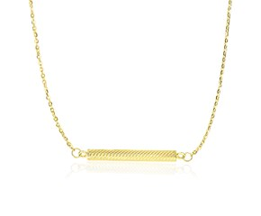 Horizontal Cylinder Bar Chain Necklace in 14K Yellow Gold