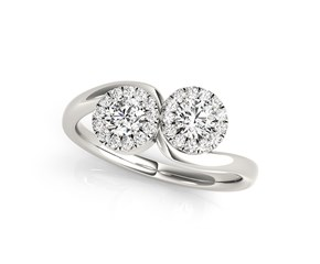 Two Stone Halo Diamond Ring in 14K White Gold (3/8 ct. tw.)