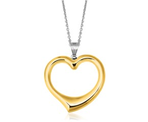 Reversible Heart Pendant in 14K Yellow Gold & Sterling Silver
