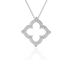 Floral Cut-out Diamond Pendant in 14K White Gold (1/3 ct. tw.)