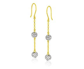 Two-Layer Crystal Ball Dangling Earrings in 14K Yellow Gold