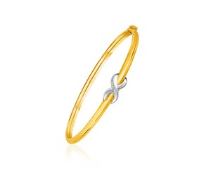 14K Two-Toned Yellow and White Gold Bangle with Infinity Symbol