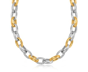 Diamond Cut Oval Rolo Rhodium Plated Chain Necklace in 18K Yellow Gold and Sterling Silver