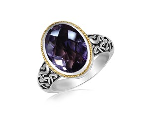 Oval Pink Amethyst Ring in 18K Yellow Gold and Sterling Silver