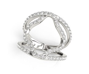 Dual Band Floral Motif Diamond Embellished Ring in 14K White Gold (5/8 ct. tw.)