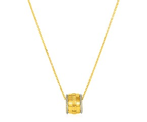 Basket Weave Textured Pendant in 14K Yellow and White Gold