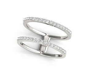 Diamond Embellished Dual Band Ring in 14K White Gold (1/3 ct. tw.)