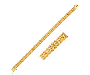 Three Row Rope Bracelet in 14K Yellow Gold (7.5mm)