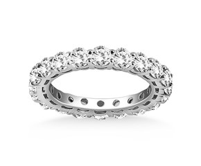 Open Gallery Round Cut Diamond Eternity Ring in 14 White Gold