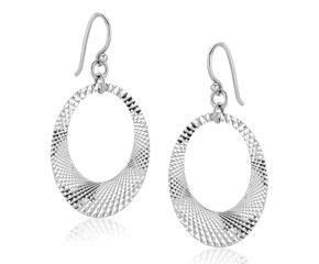 Graduated Open Oval Textured Drop Earrings in Sterling Silver