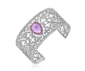 Amethyst and Pink Sapphire Embellished Byzantine Open Cuff in Sterling Silver