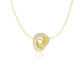 Interlinked Textured Donut Chain Necklace in 14K Two-Tone Gold