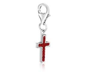 Cross Red Tone Crystal Embellished Charm in Sterling Silver
