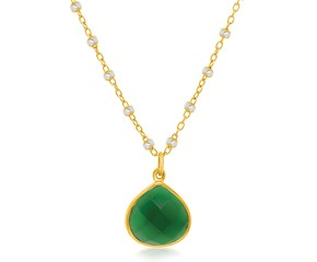 Wide Teardrop Green Onyx Pendant in Yellow Gold Plated Sterling Silver