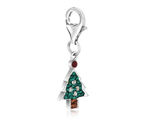 Christmas Tree Multi Tone Crystal Studded Charm in Sterling Silver