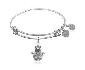 Expandable White Tone Brass Bangle with Hamsa Hand Symbol