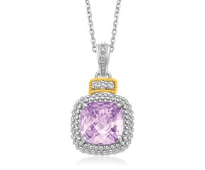 Amethyst and Diamond Popcorn Motif Cushion Pendant in 18K Yellow Gold and Sterling Silver (.02ct tw)