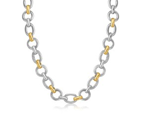 Multi Style Diamond Cut Rhodium Plated Chain Necklace in 18K Yellow Gold and Sterling Silver