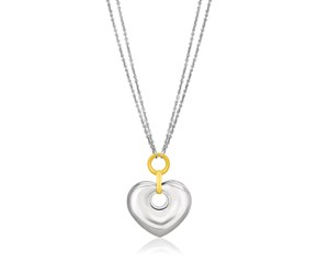 Cutout Puffed Heart Necklace in 14K Yellow Gold & Sterling Silver