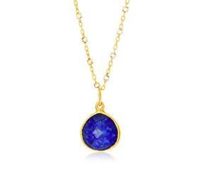 Faceted Lapis Teardrop Pendant in Yellow Gold Plated Sterling Silver