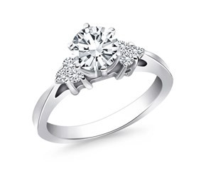 Cathedral Engagement Ring with Side Diamond Clusters in 14K White Gold
