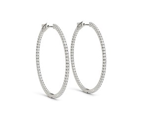 Thin Prong Style Diamond Hoop Earrings in 14K White Gold (1 1/2 ct. tw.)