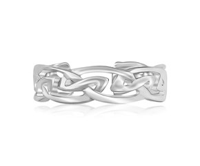 Celtic Motif Rhodium Finished Toe Ring in Sterling Silver