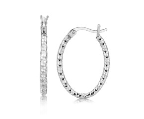 Medium Oval Hoop Earrings with Textured Diamond Cuts in Rhodium Plated Sterling Silver