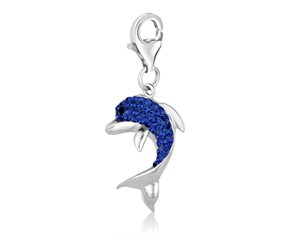 Dolphin Blue Tone Crystal Encrusted Charm in Sterling Silver