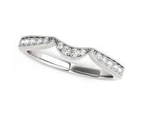 14K White Gold Milgrained Curved Wedding Diamond Band (1/6 ct. tw.)