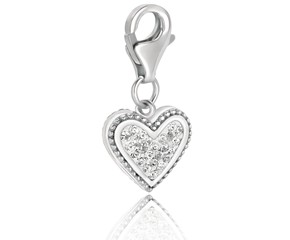 Heart Charm Embellished with White Tone Crystal Accents in Sterling Silver