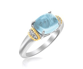 Prong Set Blue Topaz and Diamond Accented Ring in 18K Yellow Gold and Sterling Silver