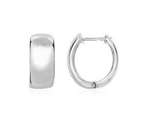 Polished Half-Round Hinged Hoop Earrings in Sterling Silver