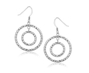 Textured Concentric Circle Style Drop Earrings in Sterling Silver