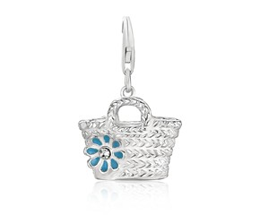 Basket with Flower Crystal Embellished Charm in Sterling Silver