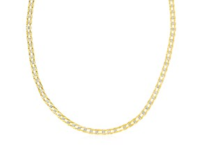 Mens Square Link Necklace in 14K Two Tone Gold