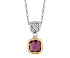 Cushion Amethyst Necklace in 18K Yellow Gold and Sterling Silver