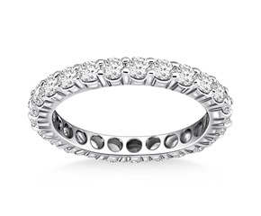 Timeless Round Cut Diamond Eternity Ring in 14K White Gold