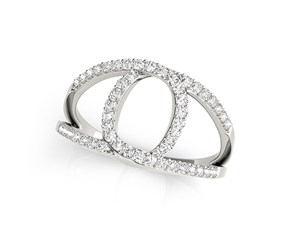 Loop Design Dual Band Ring with Diamonds in 14K White Gold (1/2 ct. tw.)