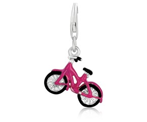 Bicycle Black and Pink Enameled Charm in Sterling Silver