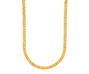 Textured Curb Chain Necklace in 14K Yellow Gold