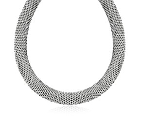 Flat Motif Mesh Necklace in Rhodium Plated Sterling Silver
